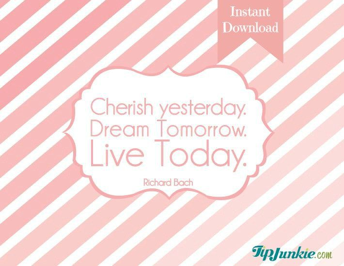 Cherish. Dream. Live. Pink - Home Decor - Sign - Quote - Typography - Ombre - Gift  (PRINTABLE FILE). $2.95, via Etsy.