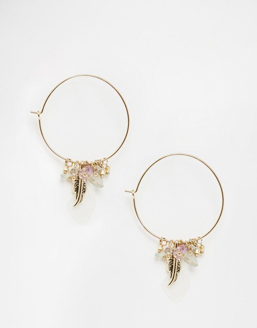 Ohrringe von Orelia goldfarben Creolen-Design Anhänger ...
