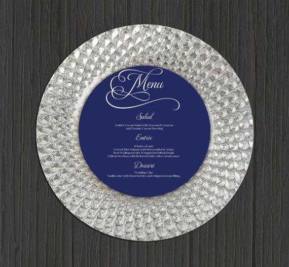 Wedding Menu Printable Round Circle Template Charger Plate