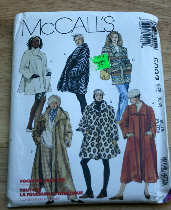 Uncut 1990 Vintage Coat Sewing Pattern Mccalls Faux Fur Coat Jacket