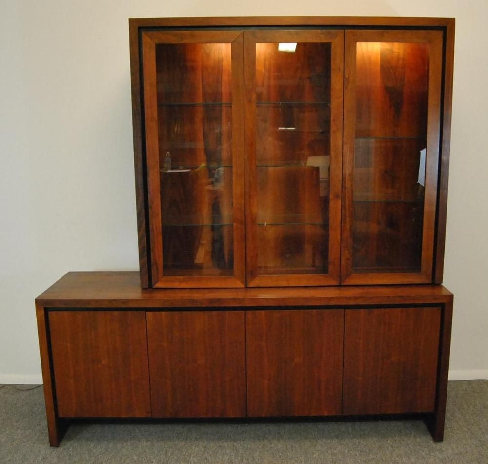 Midcentury Danish Modern 2 Pc Teak Buffet China Display Cabinet Fair Modern Dining Room Display Cabinets Decorating Design