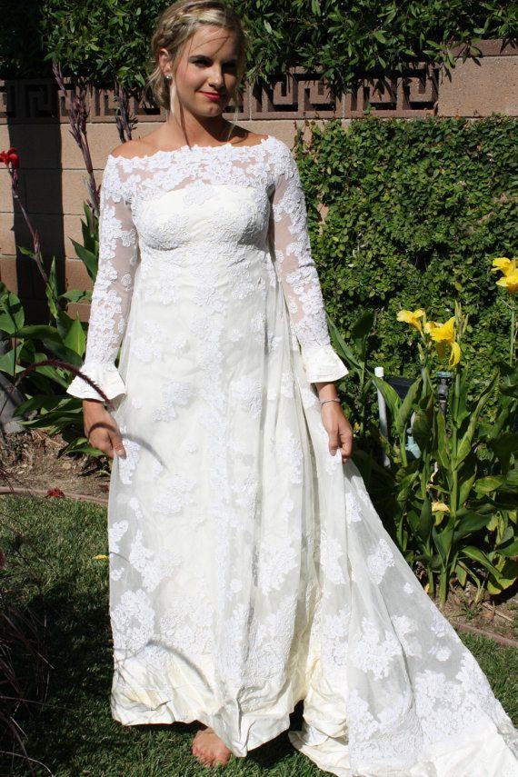 1970s Vintage Off White Wedding Dress Off the Shoulder Flared Cuffs ...