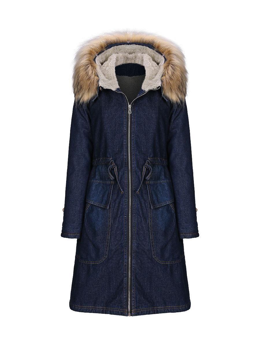 #AdoreWe #Fashionmia Fashionmia Hooded Denim Drawstring Flap Pocket Coat - AdoreWe.com