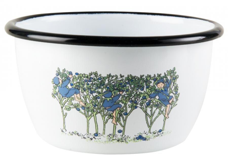 Muurla Elsa Beskow Blueberries enamel bowl 3 dl