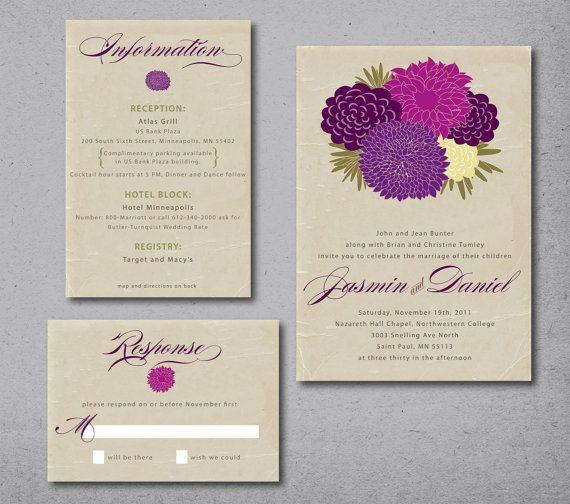 My Bouquet Wedding Invitation deposit shown in by gingerpdesigns, $60.00