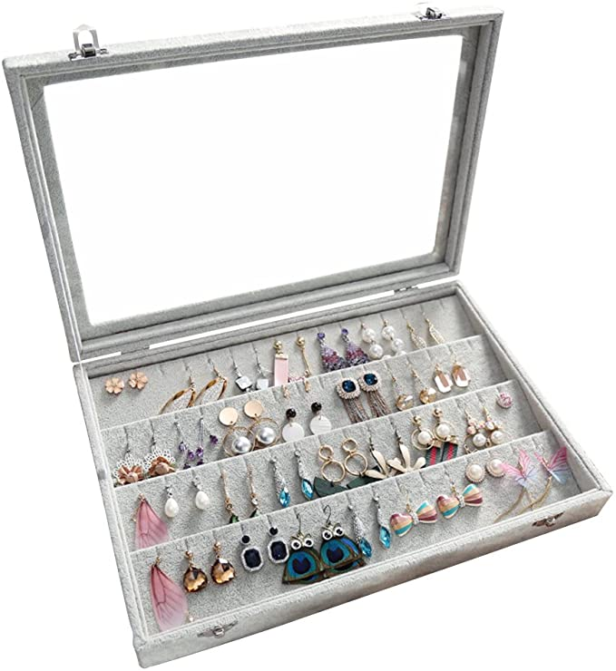 Amazon Com Wuligirl Velvet Clear Lid Earring Organizer Storage Box Holder Case Jewelry Display Showcase Tray Stackable Earrings Box Home K