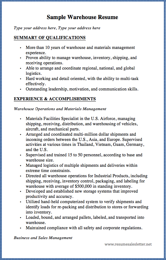 sample warehouse resume type your address here  type your address here summary of qualifications