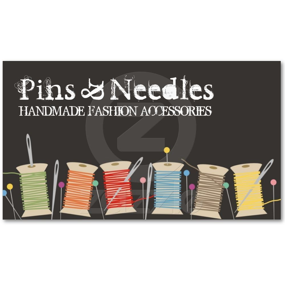 Spools of thread pins, needles sewing biz cards business card ...
