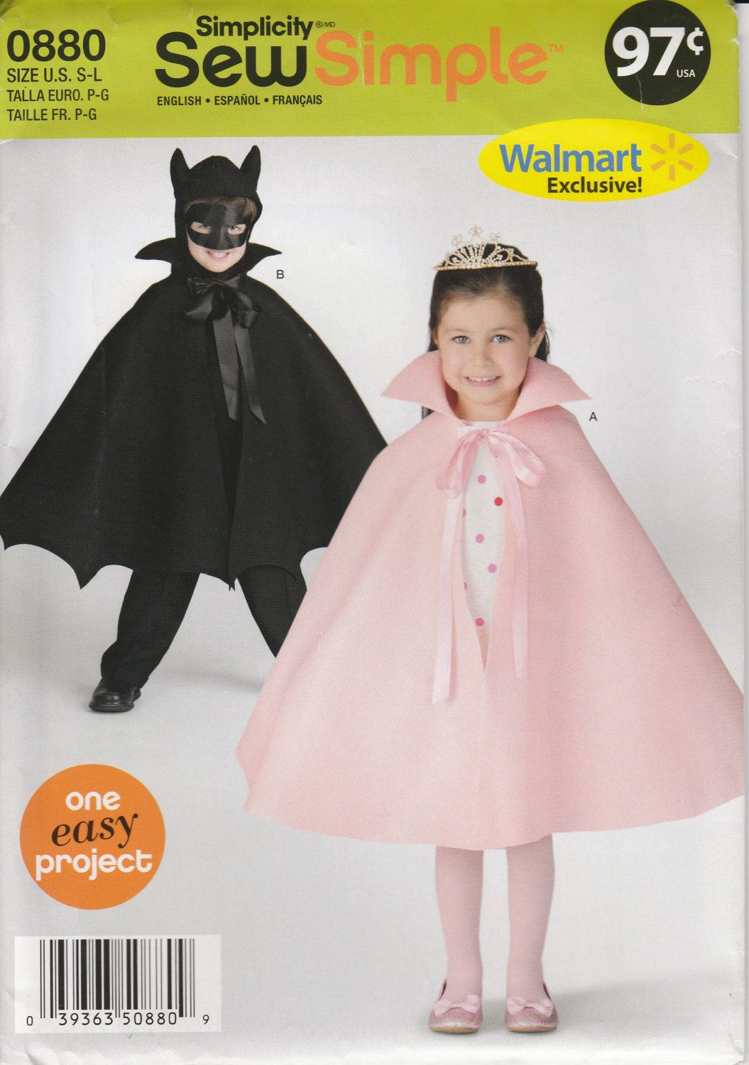 Childs Costume Pattern Cape for Princess Cape and Bat Ears Uncut ...