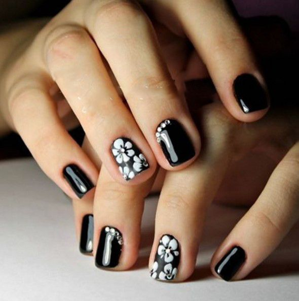 Black nail design for short nails white flowers nailset black nail design for short nails white flowers nailset prinsesfo Image collections