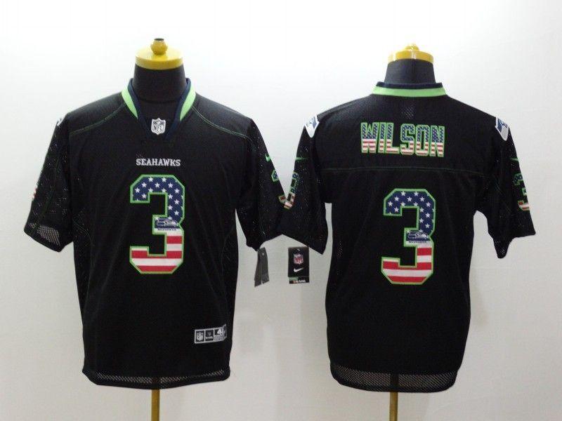 2f1de640637 Seattle Seahawks 3 Wilson USA Flag Fashion Black Nike Elite Jerseys ...