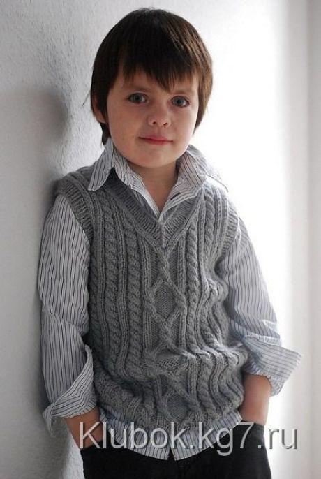 Вязание спицами - Вяжем детям - Жилет с аранами «Пембрук»