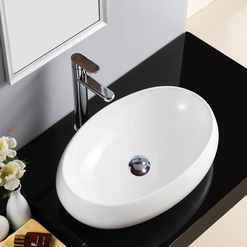 手洗い鉢 洗面ボウル 手洗器 洗面ボール 陶器 楕円型 置き型 排水栓 排水トラップ付 48cm 洗面ボール 洗面ボウル シンク