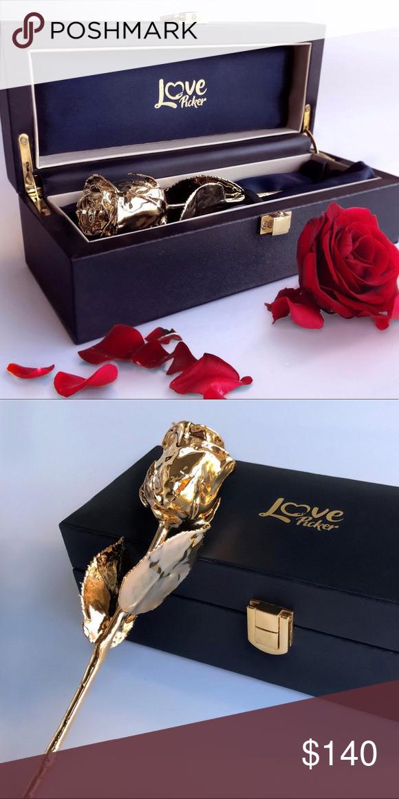 Nwot 24 Karat Gold Dipped Rose Nwot Love Picker 24 Karat Gold Dipped Rose 7 Inches Anniversary Gift For Your Significant One Gold Dipped Rose Gold Dipped Gold