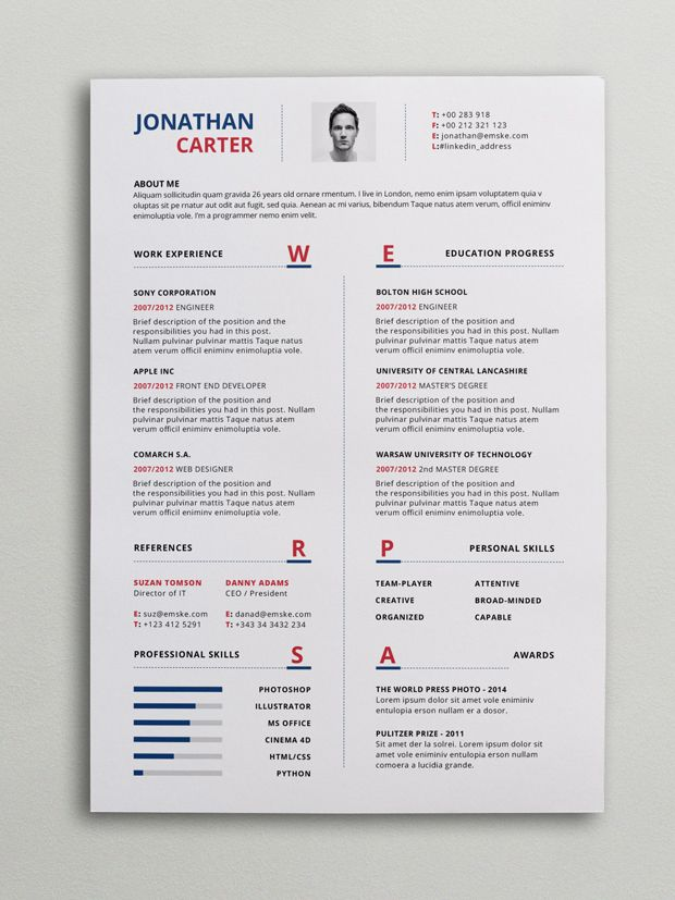 a great one page modern resume template that comes to you in two versions photoshop psd and word this resume example focuses the most - Modern Resume Template Word