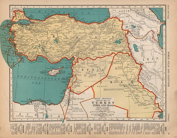 Beautiful 1940 Detailed map of Turkey Syria and Iraq vintage print