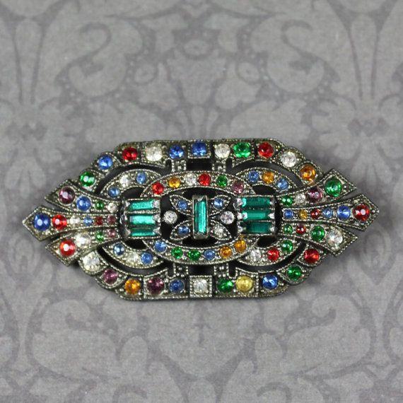 Vintage Art Deco Multi Colored Rhinestone Silver by scdvintage $45