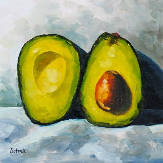 The Large Avocado Still Life Oil Painting 10x10 In 2020