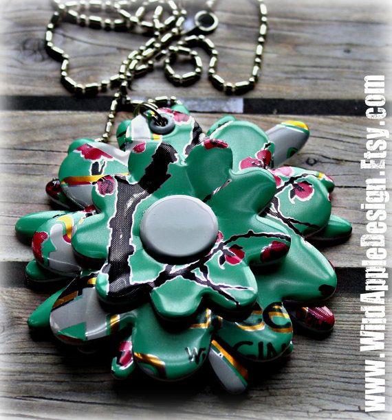 upcycled Soda Can Flower Necklace - Arizona Green Tea (4406)