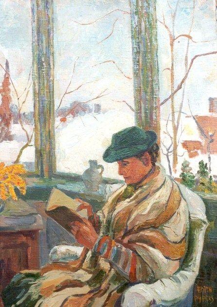 Women Reading - simena: Edith Pijpers; bundled up, window outside the window