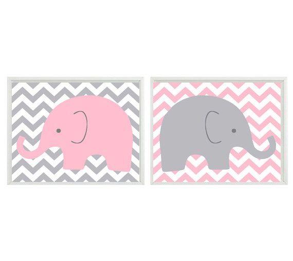 Elephant + chevron wall art