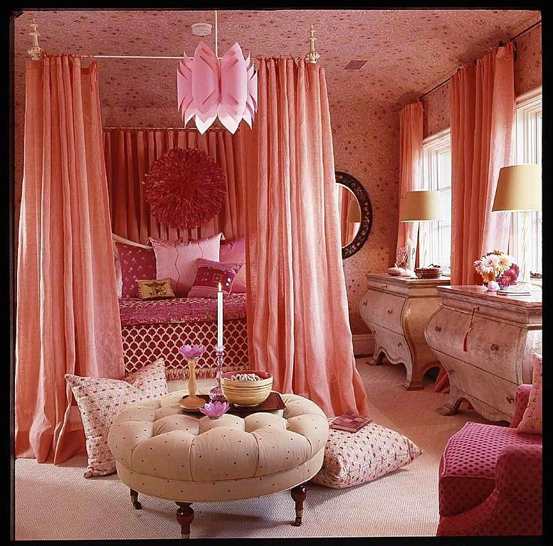 Layers of frothy pink create this luxurious bedroom! #luxury - Orange Bedrooms