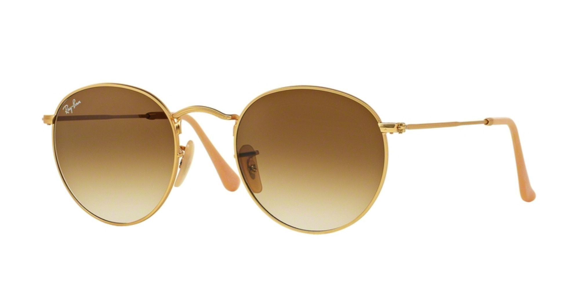 Ray-Ban RB3447-112/51 Matte Gold Round Metal Sunglasses | Products ...