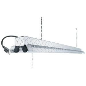Lithonia Lighting, Diamond Plate 2-Light Chrome Ceiling Fluorescent ...