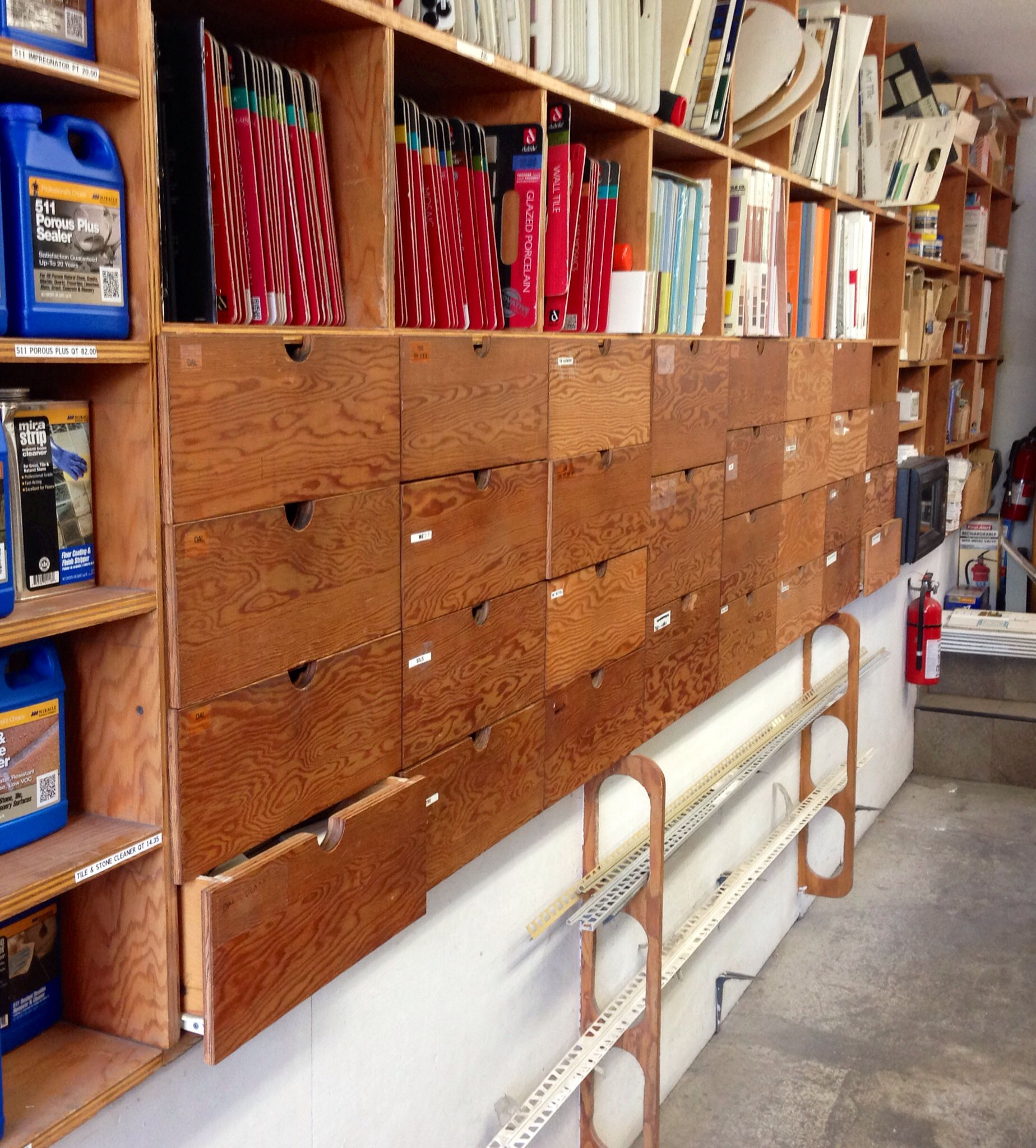Plywood Garage Cabinet Plans: Fir Plywood Drawers With Cutout Pulls - Art Tile