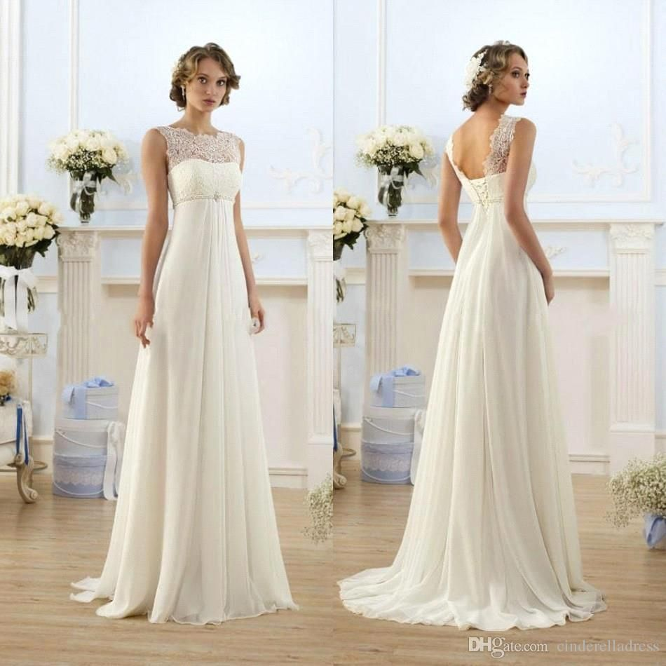 Lace chiffon empire wedding dresses sheer neck capped sleeve a