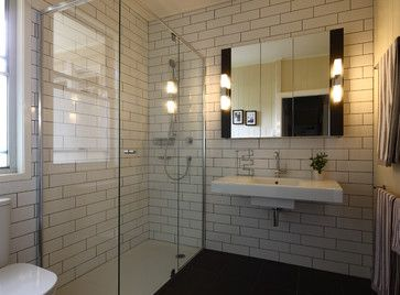 Cream Colored Subway Tile Dark Grout Shower Stall Design Ideas, Pictures,  Remodel And Decor