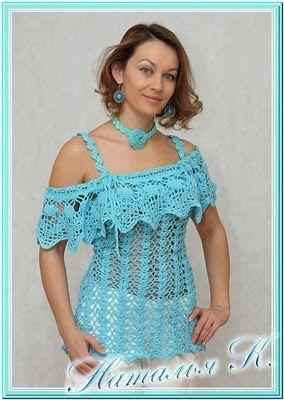 CARAMELO ARDIENTE es... LA PRINCESA DEL CROCHET: blusa celeste