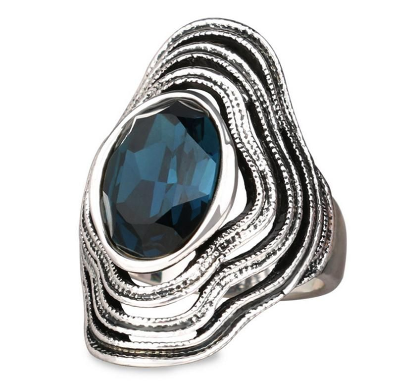 Silver Palace 1 PC Boho Jewelry Sterling Silver Natural Gemstone Marquise Labradorite Ring
