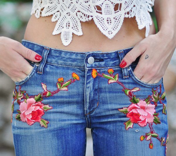 08d648b66c58e1 DIY Embroidered Jeans … | Style Inspo | Embroidered jeans, Gucci ...