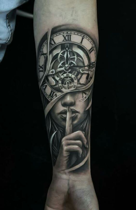 22 attractive clock tattoo designs meanings sleeve tattoos pinterest clock tattoo design. Black Bedroom Furniture Sets. Home Design Ideas