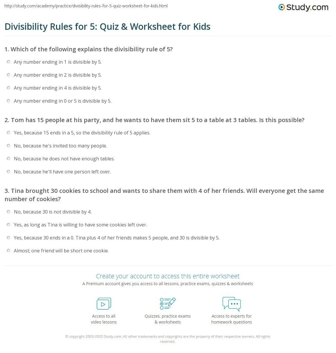 Divisibility Rules Worksheet 6th Grade Divisibility Test