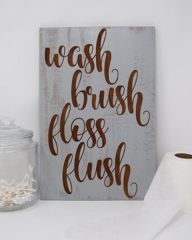 Photo of Wash Brush Floss Flush – Engraved Wood Bathroom Sign