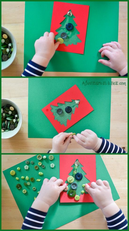 Make Christmas Cards With Kids Part - 22: Button Christmas Cards With Toddlers: Kids Of Different Ages Can  Participate In Making This Christmas