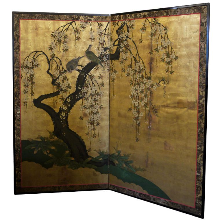 Antique japanese screen screens japanese and japan for Chinese art furniture
