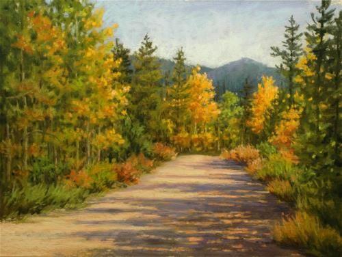 "Daily Paintworks - ""Aspen Gold -Cranmer Street - Winter Park CO - 9-18-2014"" - Original Fine Art for Sale - © Susan Klabak"