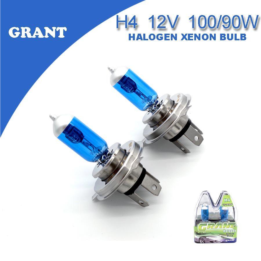 1 مجموعة منحة H4 12 فولت 100 90 واط لمبات زينون الهالوجين 6000 كيلو السوبر مشرق الأبيض العالمي للسيارات استبدال المصباح مصابيح السي Car Light Source Car H