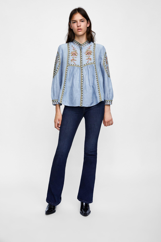 0a5fcc1c CAMISA BORDADOS | Denim Top | Denim top, Shirts, Kimono fashion