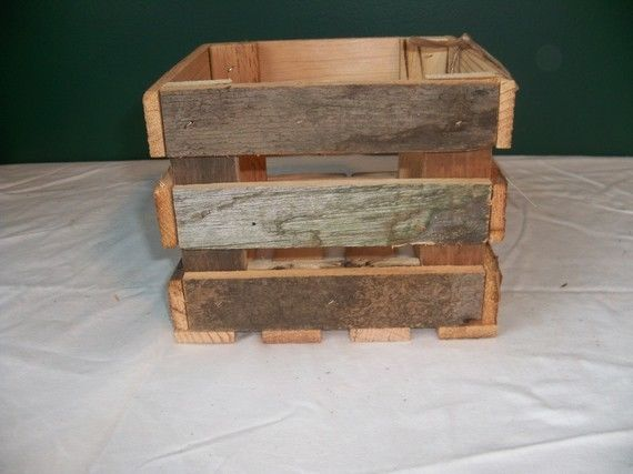 Barnwood Rustic Wooden Crate Storage Wedding Decoration Small Box  Centerpieces #Handmade #RusticPrimitive