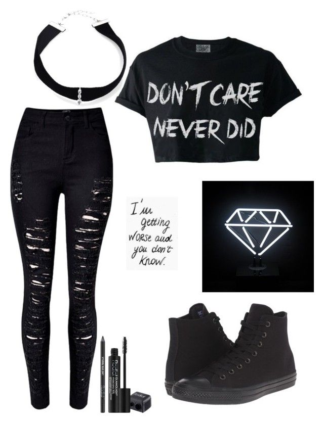 """""""Emo👌🏻"""" by it-might-be-sarah ❤ liked on Polyvore featuring WithChic, Converse, Rodial and Jennifer Zeuner"""