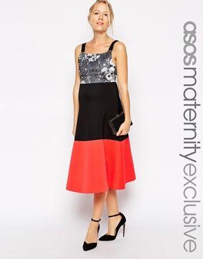 3d1342cef8 ASOS Maternity Scuba Skater Dress with Mono Floral Print Top and  Colourblock Skirt