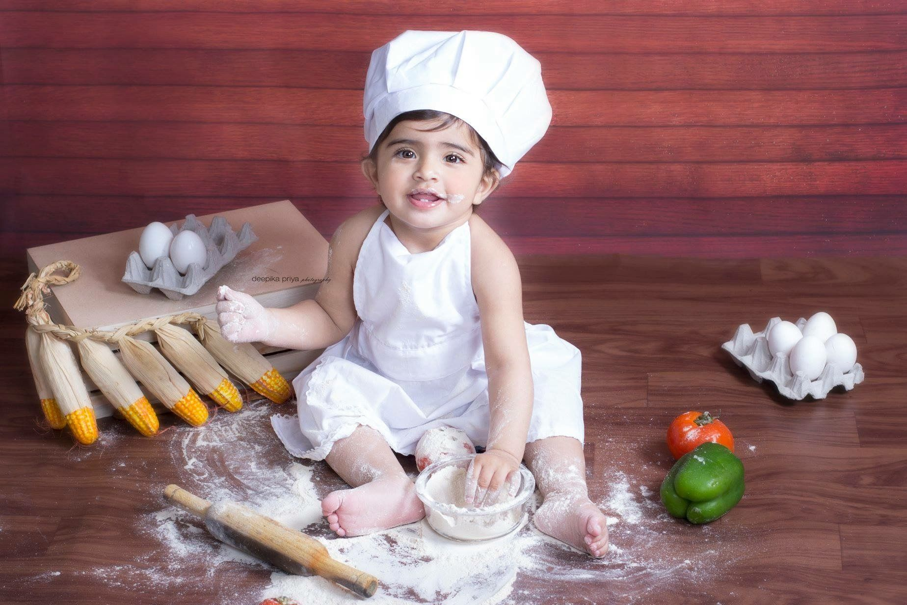 Chef set kids photography deepika priya photography deepika priya baby girl photoshoot