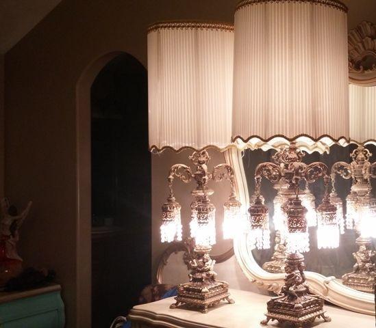 Brass Crystal Table Lamps U0026 Swags Hollywood Regency