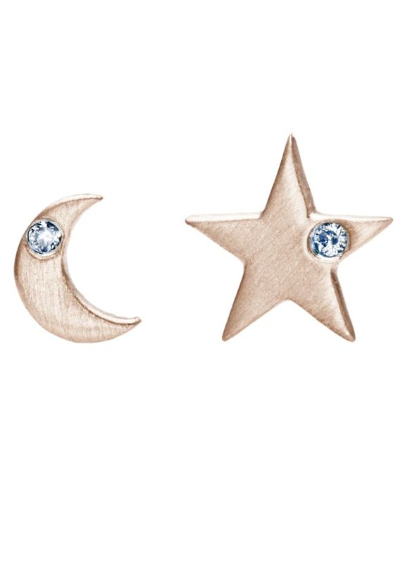 Star and Moon Earrings 10 Karat Rose Gold