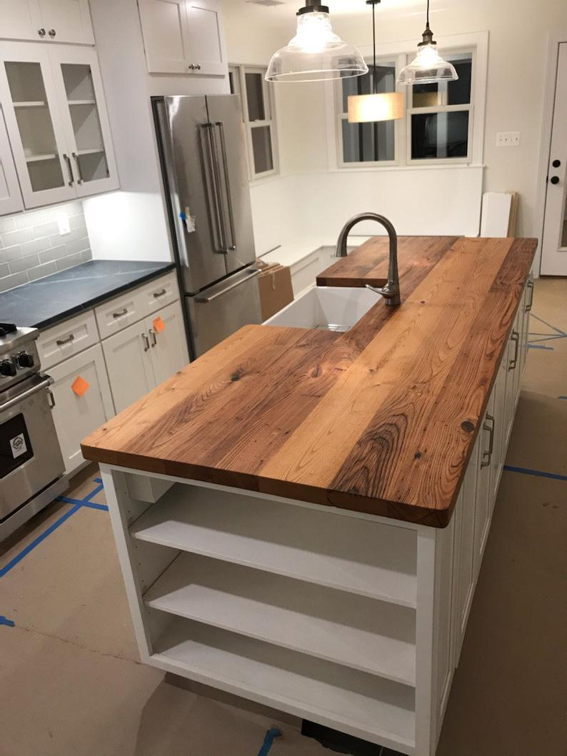 Free Shipping Custom Reclaimed Wormy Chestnut Countertops Etsy In 2020 Wood Countertops Kitchen Home Decor Kitchen Wood Counter