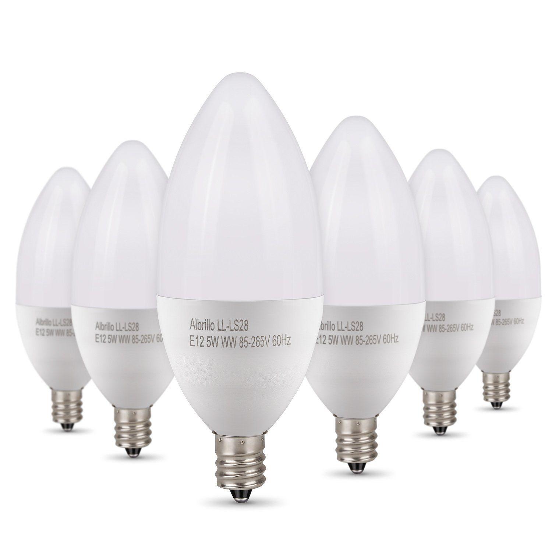 Albrillo 40 Watt Replacement 400 Lumen 5w E12 Led Light Bulb For Candelabra Base 6 Pack Amazon Co Led Candelabra Bulbs Candelabra Bulbs Light Bulb Candle